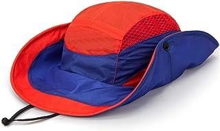 SHYPwM Outdoor Climbing Sun Hat, Cover Face Men Fishing Hat UV Protection Sun Visor (Color : Orange)