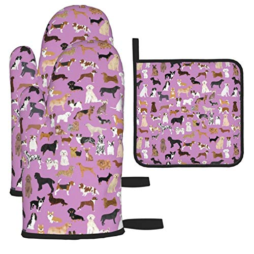 Oven Mitts and Pot Holders 3pcs Set,Dogs Cute Dog Purple Dog Best Dog Breed Design Double Oven Mitts with Cotton Lining and Non-Slip Surface for Cooking set Baking Grilling Barbecue Microwave Gauntlet
