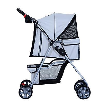 PawHut Pet 4 Wheels Travel Stroller Dog Cat Pushchair Trolley Puppy Jogger Folding Carrier (Grey) 3