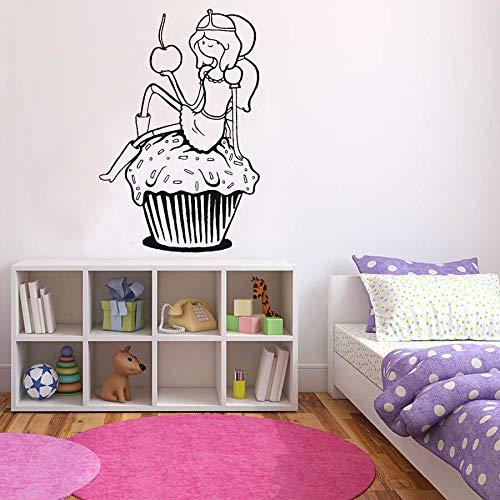 ASFGA Kuchen Wandtattoos Cartoon Mädchen Türen und Fenster Kühlschrank Aufkleber Vinyl Aufkleber Kinderzimmer Kindergarten Küche Dessert Shop Café Interieur Kinderzimmer 42x63 cm