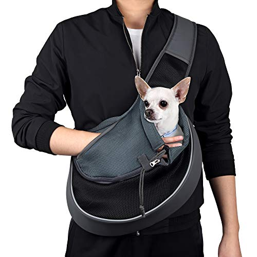 WOYYHO Pet Dog Sling Carrier Puppy Sling Bag Small Cats Dogs Sling Adjustable Strap Breathable Mesh...