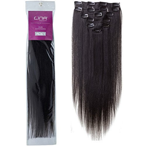 """Lina 18"""" 7Pcs Women Human Hair Clip In Silky Soft Straight Extensions #1B Natural Black"""