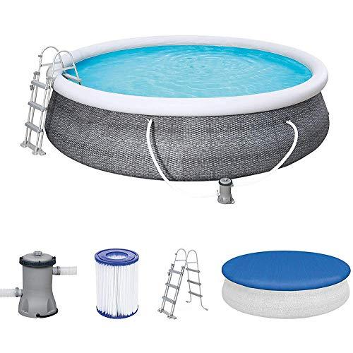 Vintac Fast Set Pool 457x457x107 cm, Gartenpool selbstaufbauend mit aufblasbarem Luftring rund im Komplett Set, mit Filterpumpe, Sicherheitsleiter und Abdeckplane