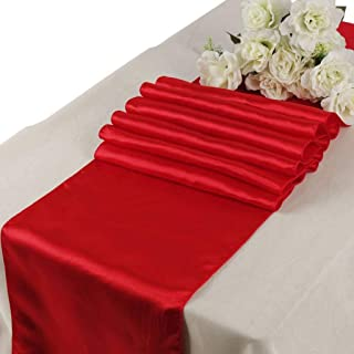 mds Pack of 10 Wedding 12 x 108 inch Satin Table Runner for Wedding Banquet Decoration- Red