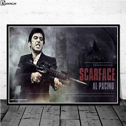 Flduod AL PACINO SCARFACE Gangster Godfather Movie Poster Wall Art Canvas Schilderij Posters en Prints voor Kamer Decoratief Home Decor60x75cm