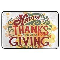 感謝祭の装飾的な玄関マット滑り止め洗える幸せな感謝祭のレタリングようこそ感謝祭の日屋内屋外エントランスバスルームフロアマット家の装飾40cm x 60cm