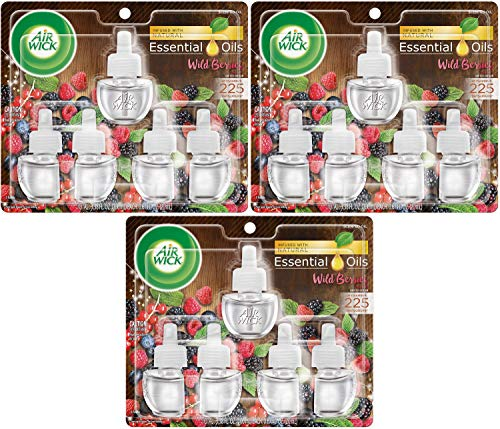 Air Wick Plug in Scented Oil 5 Refills, Wild Berries, Holiday Scent, Holiday Spray, (5x0.67oz), Essential Oils, Air Freshener, Packaging May Vary Pack of 3
