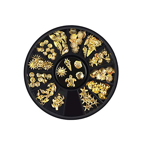 Nail Art Rhinestones Silver Gold Nail Rivets Studs Charms Nail Sequins 3d Nail Gems Decoration Kit Turyle Sun Ice Cream Conch Scallop Starfish Shell Shape Nail Sequin Decoratioins
