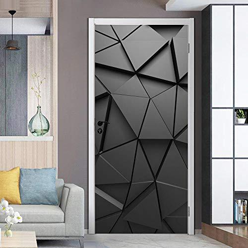 Schwarz 3D Dreidimensionales Geometrisches Muster Türaufkleber-Türfolie Türposter Selbstklebende Wandaufkleber-PVC Türtapete