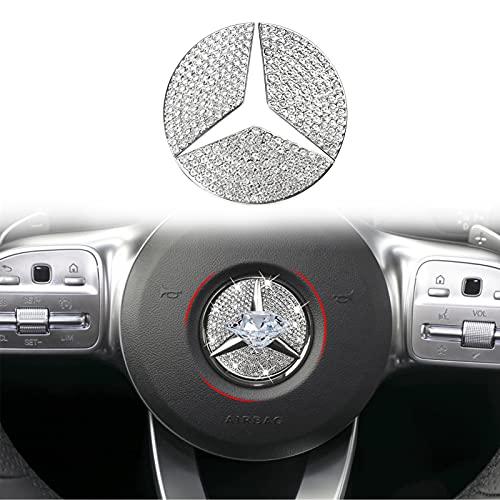 Yumzeco Emblema de volante de cristal brillante de 49 mm compatible con Mercedes-Benz, accesorios de brillo para el interior...
