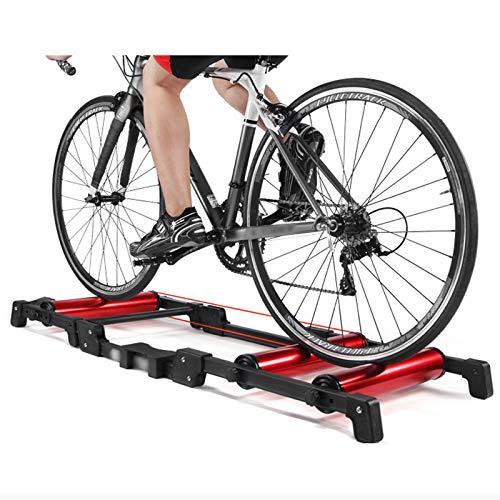 OUKANING Bicicleta estática para interior y exterior, para entrenamiento en casa, ruedas de 24 a 29 pulgadas, rodillo profesional de aluminio