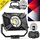 LED building spotlight with battery, LED work spotlight, camping lamp, 48 LEDs, 1600 lumen, 20W, rechargeable handy with magnetic clip stand, wireless lamp, SOS mode, emergency 2.1A quick...
