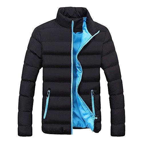 Xmiral Herren Jacke Mantel Warm Slim Fit Dicke Blase Lässige Parka Oberbekleidung (M,Blau)