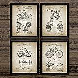 Cartel de la vendimia Impresión de patente de la bicicleta Arte de la pared de la bicicleta Pintura de la lona Invención de la bicicleta Imágenes retro Decoración del hogar 40x50cmx4Pcs Sin marco