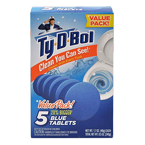 Ty-D-Bol Blue Tablets Value 5 Pack, Cleans and Deodorizer Toilets for a Fresh Smelling Bathroom