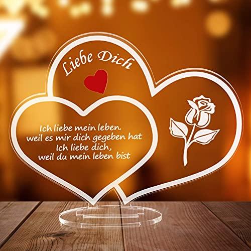 Acryl Geburtstagsgeschenk für Frauen Freundin Frau Jubiläumsgeschenke für Freund Ehemann Frauen Paar,Ich Liebe Dich Geschenk mit Box,Romantische Ornament für Jubiläum, Valentinstag, Geburtstag