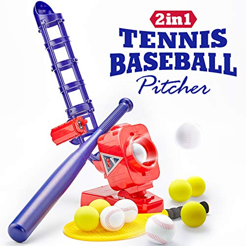 CubicFun Baseball Pitching Machine for Kids Outdoor Toys for Kids 6-12 Boys Girls, Baseball Tennis Training Outdoor Toy for Boys 5-7 Automatic Pitcher 10 Eva Balls, Toys for 5 Year Old Boys