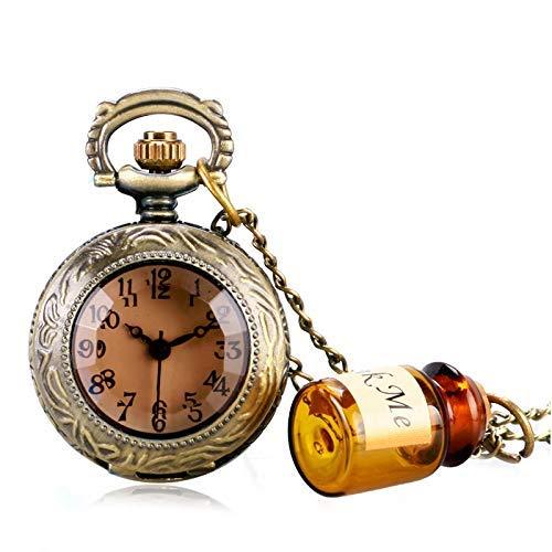 J-Love Vintage Quartz Pocket Watch Alice in Wonderland Bottle Necklace Pendant Gift Mini Retro Dark Brown Glass for Women Girl