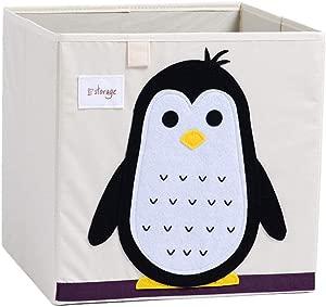Cartoon Patterned Foldable Clothes Storage Box Children s Toy Storage Cube Book Organizer 33x33x33cm  Washable  Penguin