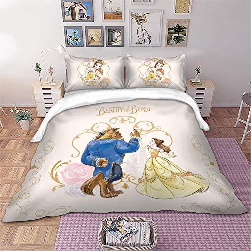 ADDYZ Belleza y bestia juego de cama Queen cama individual set doble abajo conjunto completo de almohada socket niños adultos