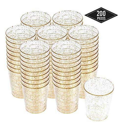 200 Vasos de Chupito Desechables de Plástico Duro con Elegante Brillo Dorado, 2oz(60ml) - Reutilizable, Material Ecológico - Vasos para Shots para Chupitos Vodka Jelly Bodas Fiestas de Navidad.