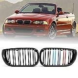 MATBC Par De 3 Colores M Style Gloss Black Bumper Front Kidney Grills Grille Double Slat, para BMW E46 4 Puertas 2002 2003 2004