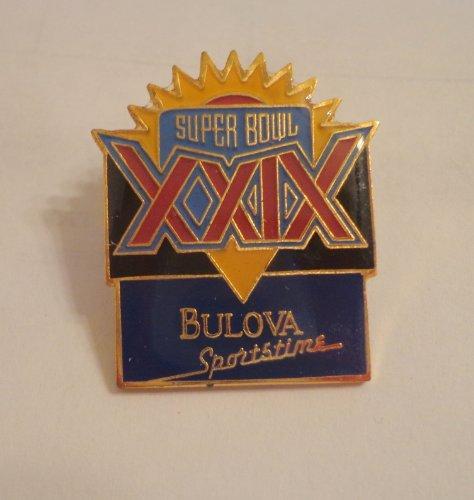 Original NFL Super Bowl XXIX (29) Bulova Sportstime Sponsor Hat Lapel Pin
