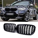 SNA F15 Grill for BMW X5 F15 X6 F16 X5M X6M 2014-2019 (ABS Gloss Black Kidney Grill, Double Slats, 2-pc Set)