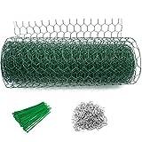 Abimars Maschendrahtzaun Sechseckgeflecht grün,40cm x 10m Gartenzaun Hasenzaun Drahtgeflecht | Gittergröße: 25 mm,Drahtdurchmesser:1,2 mm | PVC-Beschichtet Drahtgitter Verzinkter Drahtzaun