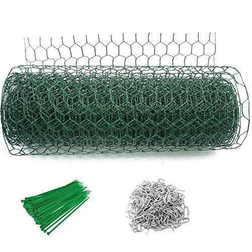 Abimars Sechseckgeflecht grün | Maschendrahtzaun | Gartenzaun | PVC-beschichtet, 25 mm Maschengröße, Drahtstärke von 1,2 mm(0,4 m x 10 m)