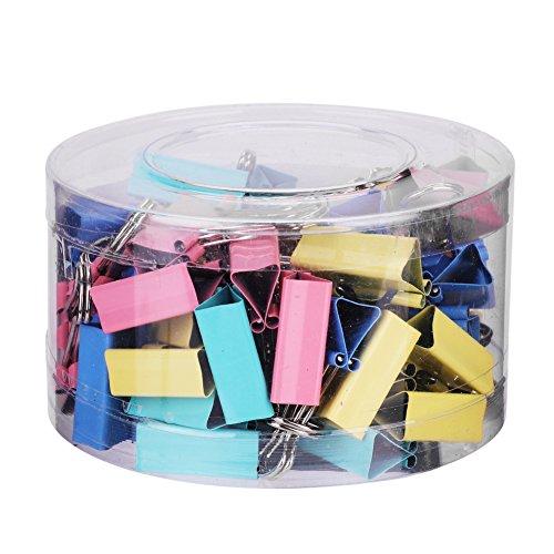 Binder Clips 48 Stück Foldback Klammer Metall Büroklammer 4-Farbige Vielzweckklammern Notizen Breifpapier Befestigungsclips mit Plastiktüte Papierbinder Aktenklammer für Büro Schule Haushalt 25mm