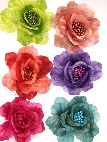 Petit Violet/Lilas 2 Tone Fleur en soie pour les cheveux ou pour femme avec clip et broche