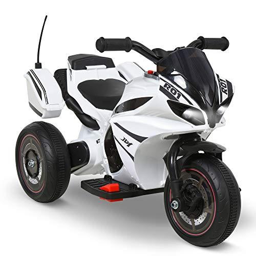 Homcom Moto électrique Enfants 6 V 5 Km/h Max. Marche AV/AR Effets Lumineux et sonore Blanc Noir