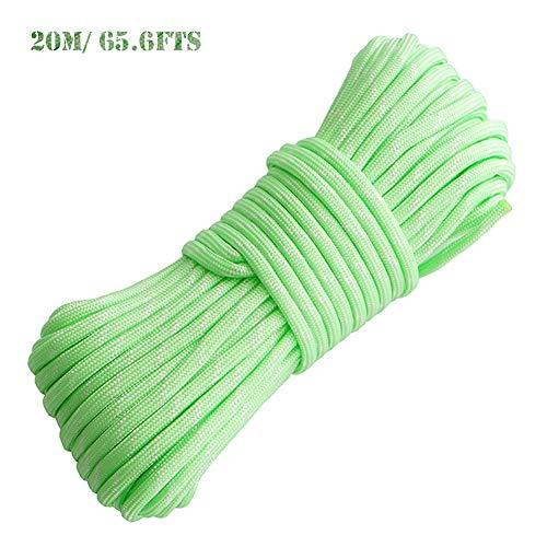 Cuerda Reflectante, 4mm Cuerda de Escalada, Cuerda Trenzada, Cuerdas Vientos Tensores Reflectantes, Verde Fluorescente Cuerda para Acampada y Senderismo(20m/65.6fts)