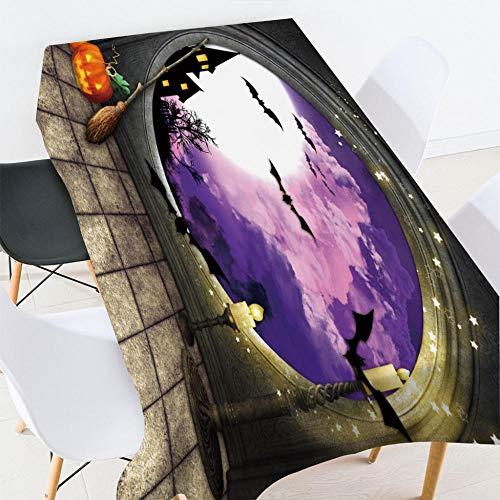 HACLJPP Tovaglia Plastificata Rettangolare, 3D Tovaglie per Tavola, Specchio Magico, Antimacchia Antiscivolo Resistente Decorazione della Tavola Horror Spaventata Festa di Halloween, 140X220Cm