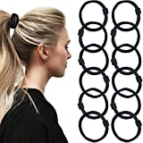 Sanas Women's Ponytail Holder Hair Elastic Rubber Bands In Black Color Pony Rubber - 12 Pcs