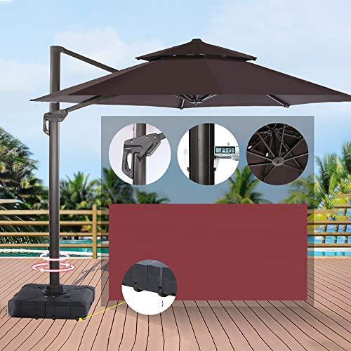 Parasol WYZQQ 10 Pieds Double Top Deluxe Rond Suspendu Parapluie Suspendu Parapluie Parapluie Outdoor Market Parapluie Jardin Parapluie Réglable en 5 Étapes, Rotation 360 °