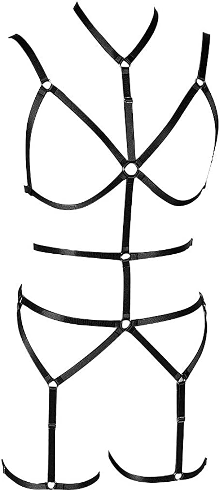 Women's Full Body Translated Harness Bra Garter cage Lingerie Goth Set Punk Fees free