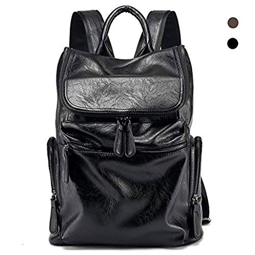 OULATUWB Laptop Business Backpack ,Fashion Casual Soft Leather dayback for Men, Outdoor Travel Waterproof University Student School Bag (Color : Black)