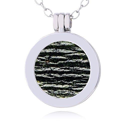 Morella Damen Halskette 70 cm Edelstahl und Anhänger mit Edelstein Jaspis SMALL Coin 23 mm Chakren Scheibe in Schmuckbeutel