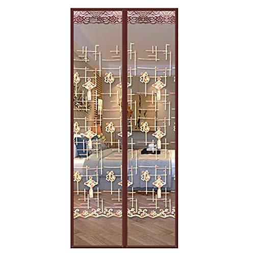 Muggennet voor ramen en ramen, zeer fijn, standaard magneetgordijn, voor kantoor, slaapkamer, ingandeuren, binnenplaats, magnetisch, zelfsluitend, anti-muggenbescherming. 130x220cm(51x87inch) Bruin