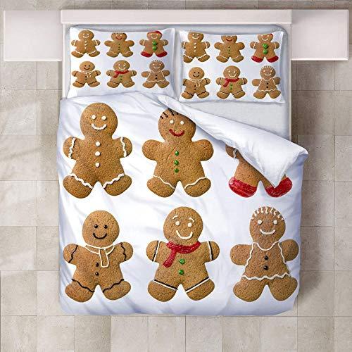 FAIEK 3D Bettwäsche 1 Bettbezug Und 2 Kissenbezug -Braunbär Keks- Buntes Muster Bettwäsche Erwachsene Kind Unisex Mode Luxuriös Und Geschmeidig Zuhause Bettwäsche - 220X240Cm