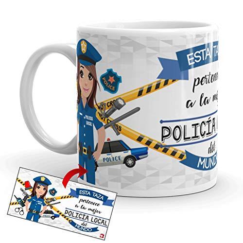 Kembilove Taza de Café de la Mejor Policía Local del Mundo – Taza de Desayuno para la Oficina – Taza de Café y Té para Profesionales – Taza de Cerámica Impresa – Tazas Profesiones Policías Locales