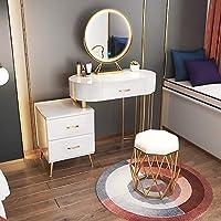 LEDライト付きモダンな化粧台ミラー、室内焼成の洗面台と引き出し、寝室の家具セット、少女の誕生日プレゼント,B