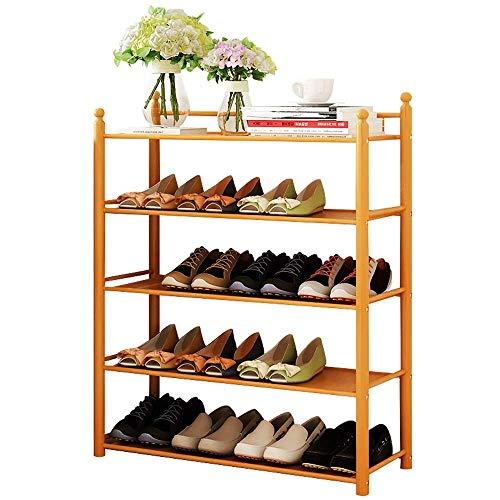 BXU-BG Zapatero de 5 niveles, estante de madera para pasillo, muebles grandes, ahorro de espacio, fácil de montar (color: natural, tamaño: 78 x 24 x 85,7 cm)