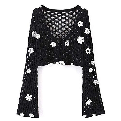 Flower Hand Crochet Cardigan Tank Top Crop Top Sexy Mujeres Cintura con cordón Mini Falda Corta Holiday Sweater 2 Piezas Set