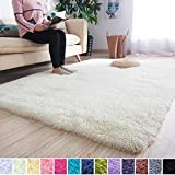 Noahas Super Soft Modern Shag Area Rugs Fluffy Living Room Carpet Comfy Bedroom Home Decorate Floor Kids Playing Mat 4 Feet by 5.3 Feet, Creamy