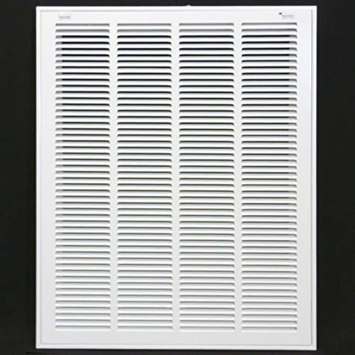 20' X 25' Steel Return Air Filter Grille for 1' Filter - Removable Face/Door - HVAC Duct Cover - Flat Stamped Face -White [Outer Dimensions: 21.75w X 26.75h]