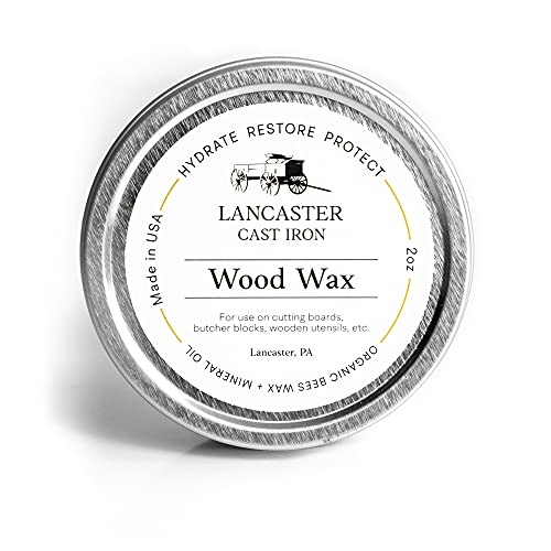 Wood Wax for Spoons, Cutting Boards, and Butcher Blocks - 2 oz Beeswax and Mineral Oil Conditioner and Wood Butter - Made in USA