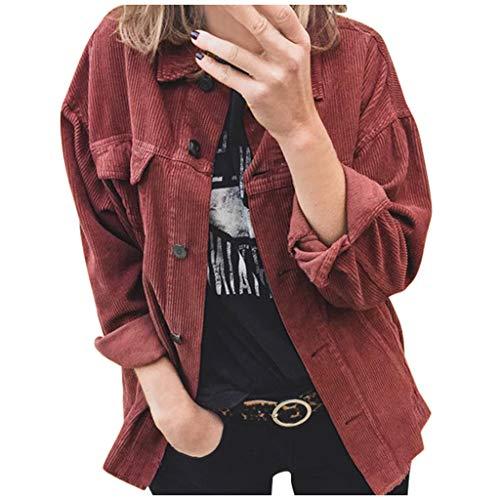 Vintage Jacke Damen Lose Cordjacke Revers üBergangsjacke,Kanpola Herbst Winter BeiläUfige Cordhemd Knopfverschluss Einfarbig Streetwear mit Tasche